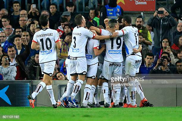 Deportivo de la Coruna's players celebrate a goal during the Spanish league football match FC Barcelona vs Deportivo de La Coruna at the Camp Nou...