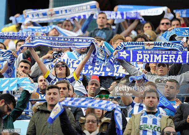 Deportivo La Coruna fans cheers their team during the La Liga match between Club Atletico de Madrid and RC Deportivo La Coruna at Vicente Calderon...