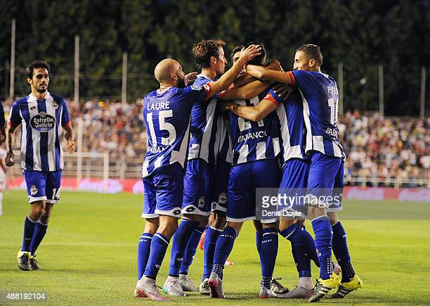 Deportivo la Coruna players celebrate after Luis Alberto scored Deportivo's 2nd goal during the La Liga match between Rayo Vallecano and RC Deportivo...