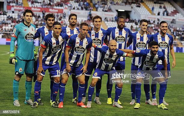 Deportivo La Coruna team lineup during the La Liga match between Rayo Vallecano and RC Deportivo La Coruna at Estadio Teresa Rivero on September 14...