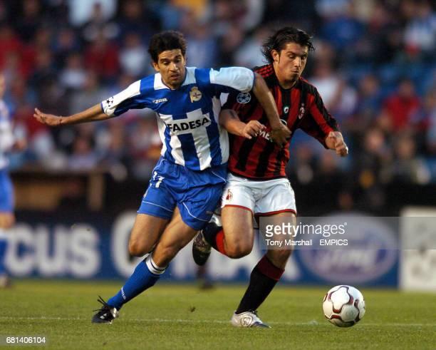 Deportivo La Coruna's Juan Carlos Valeron and AC Milan's Gennaro Gattuso