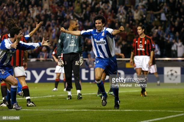 Deportivo La Coruna's Juan Valeron celebrates scoring their second goal against AC Milan