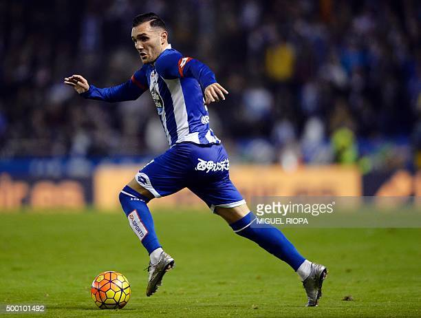Deportivo La Coruna's midfielder Lucas Perez controls the ball during the Spanish league football match RC Deportivo de la Coruna vs Sevilla FC at...