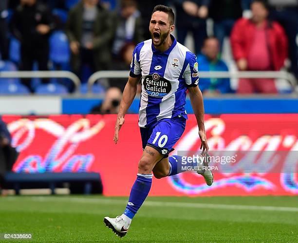 Deportivo La Coruna's Romanian forward Florin Andone celebrates a goal during the Spanish league football match between RC Deportivo de la Coruna and...