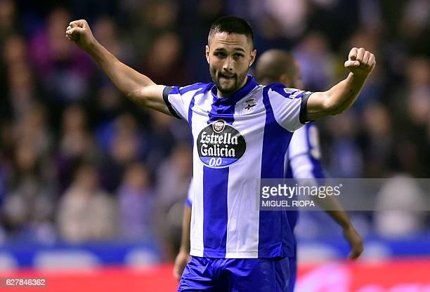 Deportivo La Coruna's Romanian forward Florin Andone celebrates after scoring a goal during the Spanish league football match RC Deportivo de la...