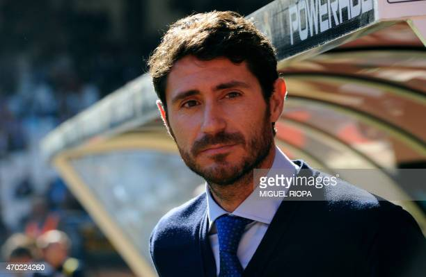 Deportivo's new coach Victor Sanchez stands near the bench before the Spanish league football match RC Deportivo La Coruna v Club Atletico de Madrid...