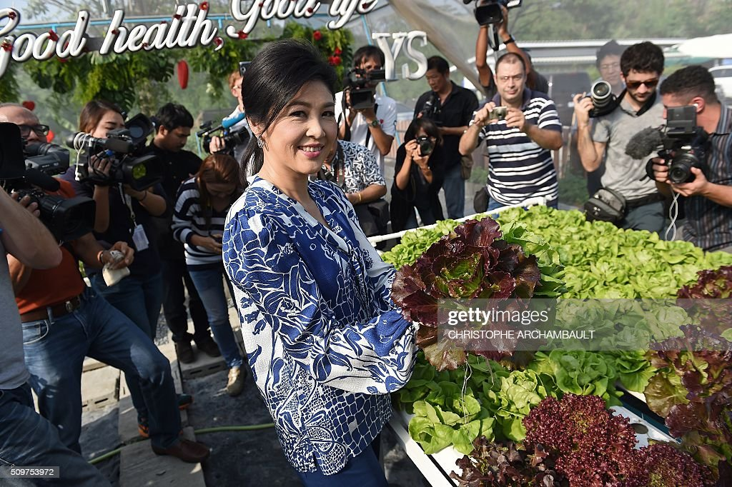 Deposed Thai prime minister Yingluck Shinawatra (C) shows off a head of lettuce to mainly foreign media who were invited to her compound, where the ex-premier gave a tour of her vegetable garden, in Bangkok on February 12, 2016. Barred from discussing politics by the Thai junta, ousted Prime Minister Yingluck Shinawatra opened up her Bangkok home on February 12 to talk about her new passion: vegetables. AFP PHOTO / Christophe ARCHAMBAULT / AFP / CHRISTOPHE ARCHAMBAULT