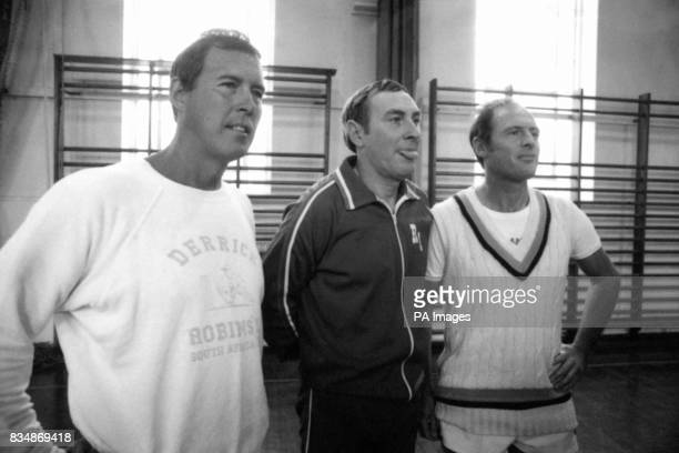 Deposed Yorkshire cricket captain Geoffrey Boycott right gets together with his successor John Hampshire left and manager Ray Illingsworth