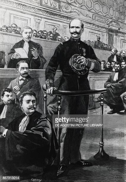 Deposition of Commander Charles WalsinEsterhazy during the Emile Zola trial Dreyfus affair drawing by Carrey engraving by Meaulle France 19th century