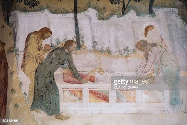 Deposition of Jesus in the tomb fresco by Matteo Giovannetti in the chapel of the Val de Benediction charterhouse VilleneuvelesAvignon...