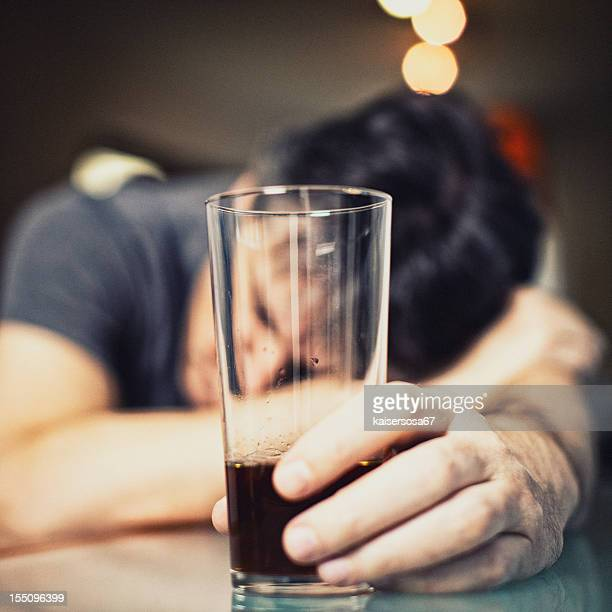 Depressed Man Drinking Alcohol