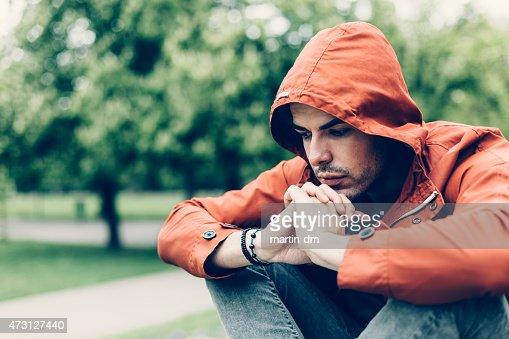 Depressed man in the park