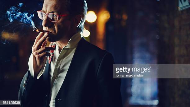 Depressed man smoking
