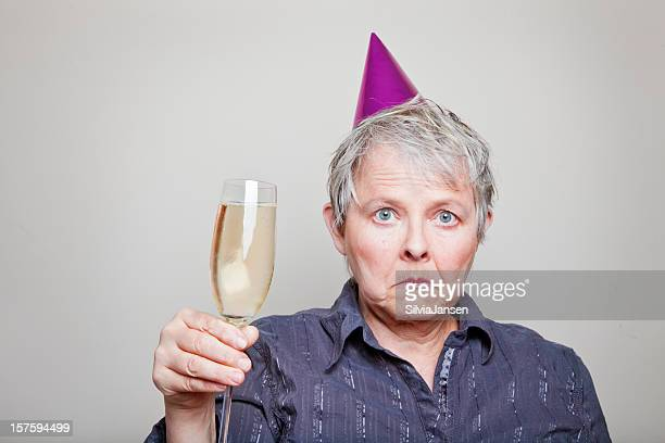 depressed senior woman celebrating