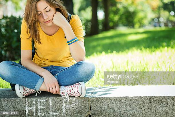 Depressed teen girl