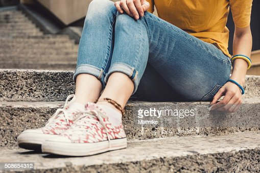 Depressed teen girl : Stock Photo