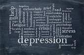 depression word cloud - white chalk text on a slate blackboard