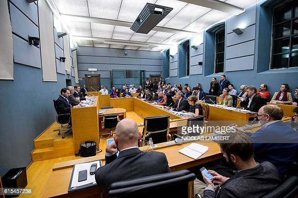 Deputies attend a meeting on CETA at the Walloon parliament in Namur Belgium on October 18 2016 The European Union gave Belgium until a leaders'...