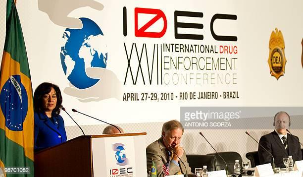 US Deputy administrator of the US Drug Enforcement Administration Michele Leonhart delivers a speech during the XXVII International Drug Enforcement...