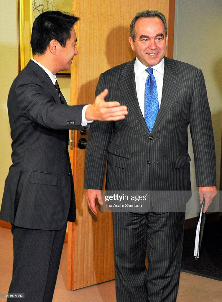 US Deputy Assistant Secretary of Defense Kurt Campbell and Japanese Foreign Minister Seiji Maehara greet prior to their meeting at Foreign Ministry...