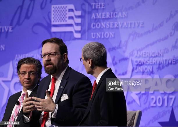 Deputy assistant to President Trump Sebastian Gorka and ACU Board Member Zuhdi Jasser participate in a discussion during the Conservative Political...