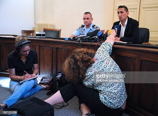 Deputy Attorney Franck Alzinbre gives a press conference on August 10 in Privas about a suspected serial rapist who is preying on young girls...