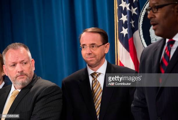 US Deputy Attorney General Rod Rosenstein arrives alongside Acting DEA Administrator Robert Patterson and Acting ICE Deputy Director Peter Edge as...