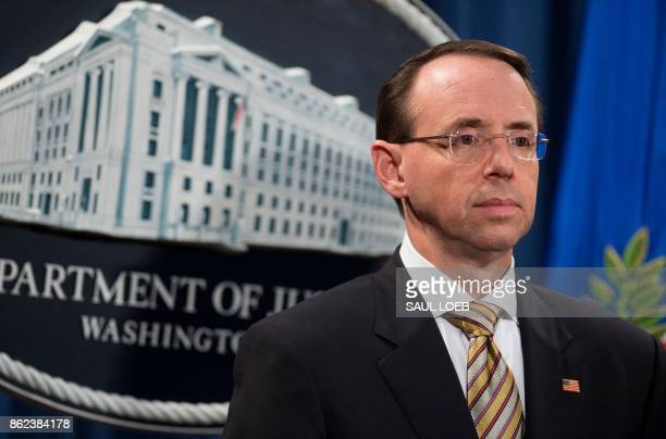 US Deputy Attorney General Rod Rosenstein looks on as he announces indictments to stop fentanyl and other opiate substances from entering the United...