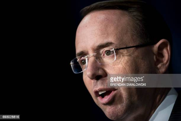 Deputy Attorney General Rod Rosenstein speaks about fentanyl at the headquarters of the Drug Enforcement Agency June 6 2017 in Arlington Virginia...