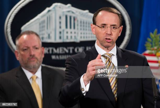 US Deputy Attorney General Rod Rosenstein speaks alongside Acting DEA Administrator Robert Patterson as they announce indictments to stop fentanyl...