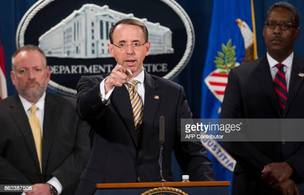 US Deputy Attorney General Rod Rosenstein speaks alongside Acting DEA Administrator Robert Patterson and Acting ICE Deputy Director Peter Edge as...