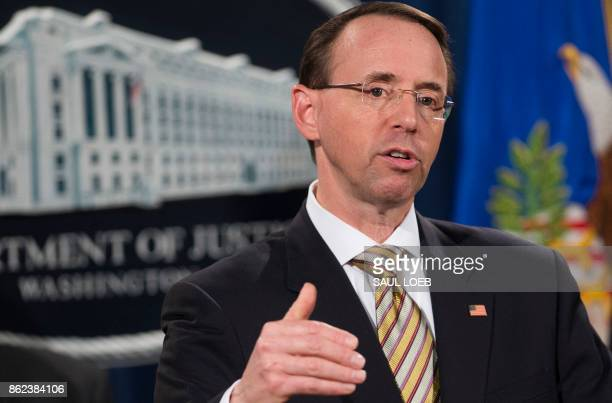 US Deputy Attorney General Rod Rosenstein speaks as he announces indictments to stop fentanyl and other opiate substances from entering the United...