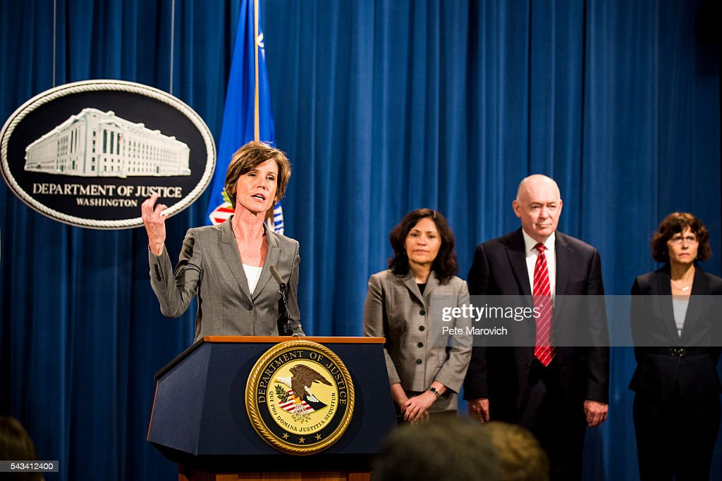 Deputy Attorney General Sally Q. Yates speaks during a press conference at the Department of Justice on June 28, 2016 in Washington, DC. Volkswagen has agreed to nearly $15 billion in a settlement over emissions cheating on its diesel vehicles.