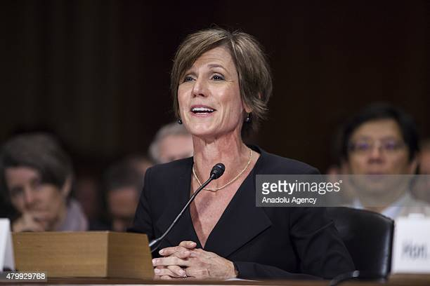 Deputy Attorney General Sally Quillian Yates speaks during a Senate Judiciary Committee hearing on Going Dark and data encryption in Washington USA...