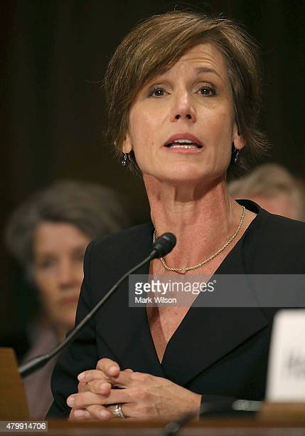 Deputy Attorney General Sally Quillian Yates testifies during a Senate Judiciary Committee hearing on Capitol Hill July 8 2015 in Washington DC The...