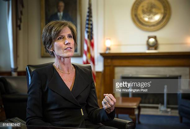 Deputy Attorney General Sally Yates at the Justice Department May 15 in Washington DC Yates who was confirmed by the Senate yesterday is a former...