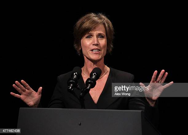 S Deputy Attorney General Sally Yates speaks during a formal investiture ceremony for Attorney General Loretta Lynch June 17 2015 at the Warner...