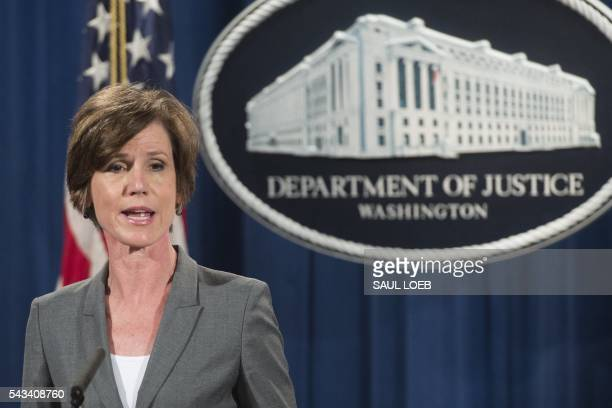 Deputy Attorney General Sally Yates speaks during a press conference to announce environmental and consumer relief in the Volkswagen litigation at...