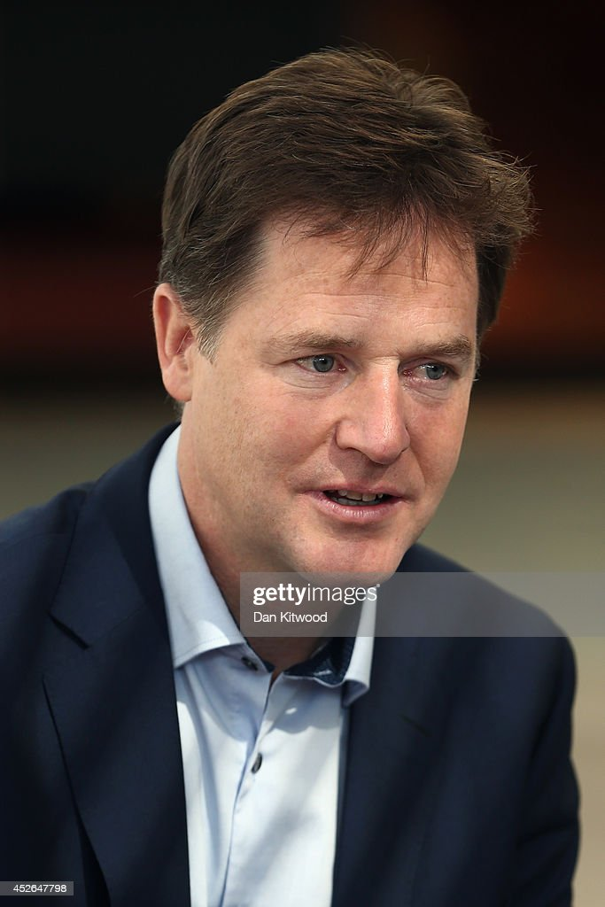 Deputy British Prime Minister Nick Clegg speaks during a meet with designers at Pentland Brands Global Headquarters on July 25 2014 in London England...