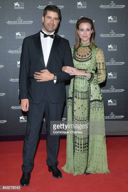 Deputy CEO of JaegerLeCoultre Geoffroy Lefebvre and Amanda Shadforth arrive for the JaegerLeCoultre Gala Dinner during the 74th Venice International...