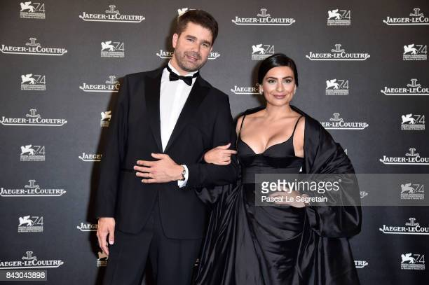 Deputy CEO of JaegerLeCoultre Geoffroy Lefebvre and Ana Brenda Contreras arrive for the JaegerLeCoultre Gala Dinner during the 74th Venice...
