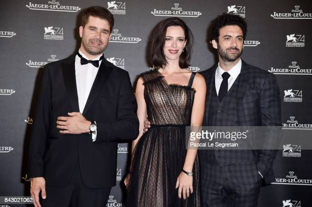 Deputy CEO of JaegerLeCoultre Geoffroy Lefebvre Rebecca Hall and Morgan Spector arrive for the JaegerLeCoultre Gala Dinner during the 74th Venice...