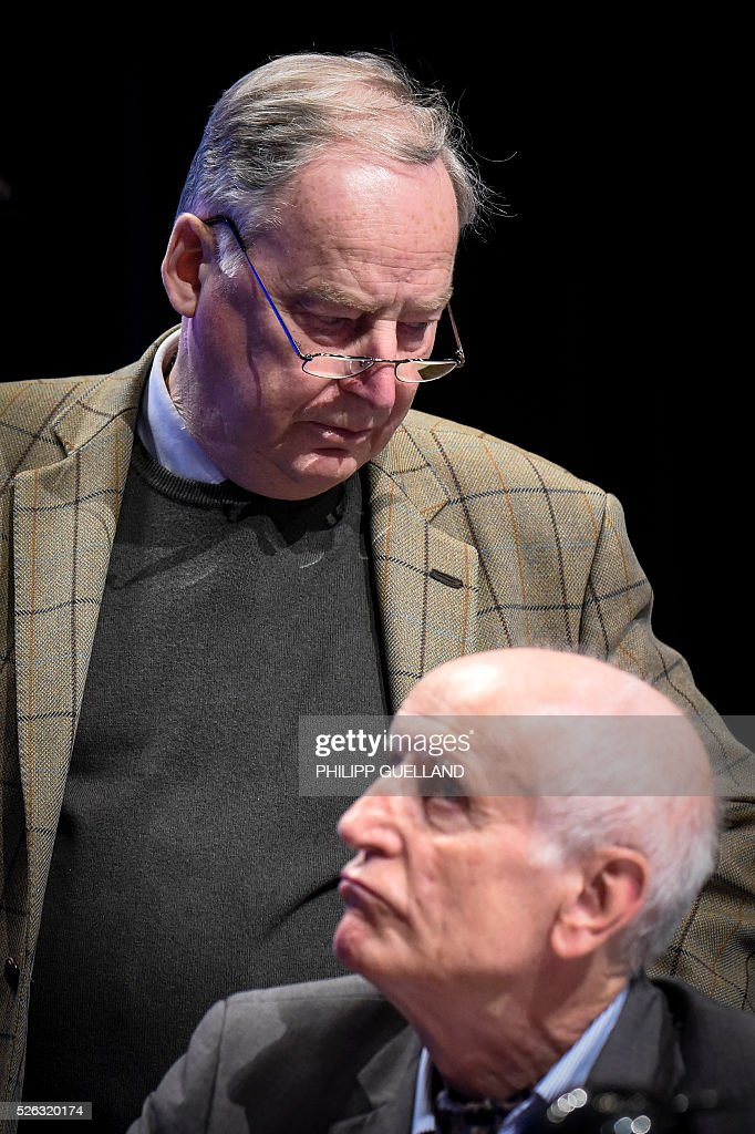 AFD deputy chairman Alexander Gauland (L) and AFD deputy spokesperson Albrecht Glaser attend a party congress of the German right wing party AfD (Alternative fuer Deutschland) at the Stuttgart Congress Centre ICS on April 30, 2016 in Stuttgart, southern Germany. The Alternative for Germany (AfD) party is meeting in the western city of Stuttgart, where it is expected to adopt an anti-Islamic manifesto, emboldened by the rise of European anti-migrant groups like Austria's Freedom Party. / AFP / Philipp GUELLAND