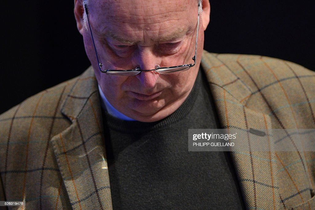 AFD deputy chairman Alexander Gauland attends a party congress of the German right wing party AfD (Alternative fuer Deutschland) at the Stuttgart Congress Centre ICS on April 30, 2016 in Stuttgart, southern Germany. Protesters tried to block the access to the party conference of the 'Alternative Fuer Deutschland' (Alternative for Germany) with around 400 being taken into custody. / AFP / Philipp GUELLAND
