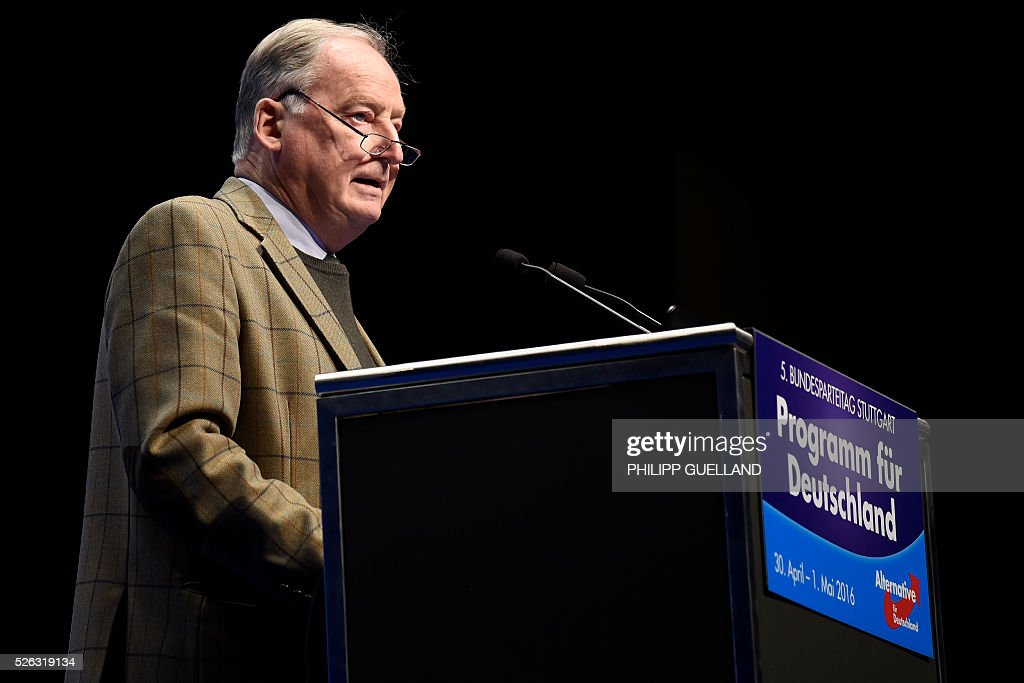 AFD deputy chairman Alexander Gauland delivers a speech during a party congress of the German right wing party AfD (Alternative fuer Deutschland) at the Stuttgart Congress Centre ICS on April 30, 2016 in Stuttgart, southern Germany. Protesters tried to block the access to the party conference of the 'Alternative Fuer Deutschland' (Alternative for Germany) with around 400 being taken into custody. / AFP / Philipp GUELLAND