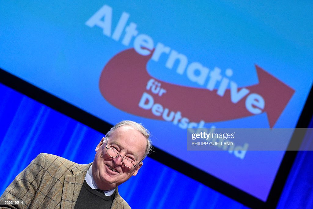 AFD deputy chairman Alexander Gauland smiles during a party congress of the German right wing party AfD (Alternative fuer Deutschland) at the Stuttgart Congress Centre ICS on April 30, 2016 in Stuttgart, southern Germany. Protesters tried to block the access to the party conference of the 'Alternative Fuer Deutschland' (Alternative for Germany) with around 400 being taken into custody. / AFP / Philipp GUELLAND