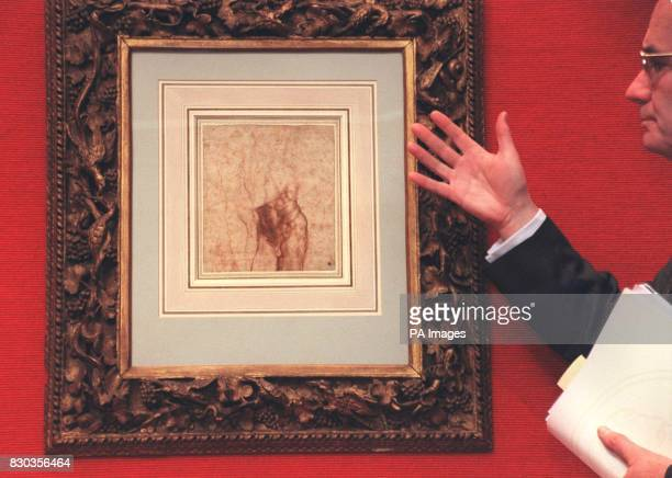 Deputy Chairman of Christie's Noel Annesley unveils a rare drawing by Michelangelo 'Study for the Risen Christ' by Michaelangelo Buonarroti is the...