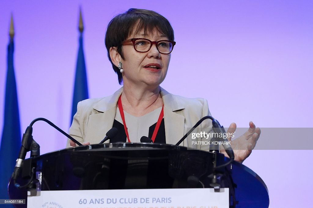 Deputy chairman of French public investment bank La Caisse des Depots (CDC) and Secretary General of Club de Paris Odile Renaud-Basso delivers a speech during 60th anniversary of the Paris Club, on July 1, 2016 in Paris. KOVARIK