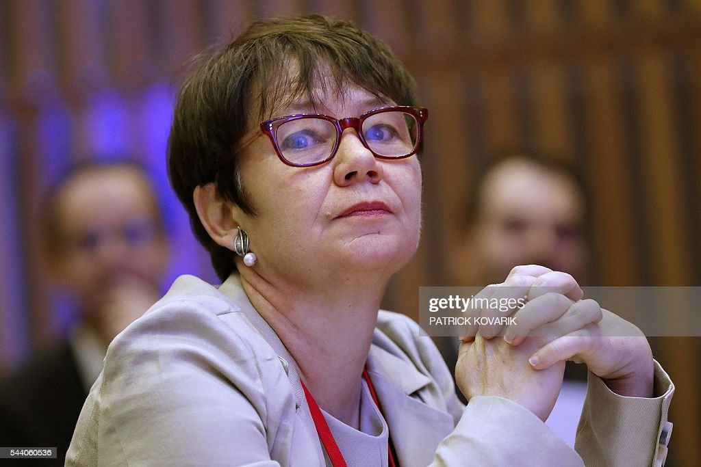 Deputy chairman of French public investment bank La Caisse des Depots (CDC) and Secretary General of Club de Paris Odile Renaud-Basso looks on during the 60th anniversary of the Paris Club, on July 1, 2016 in Paris. KOVARIK