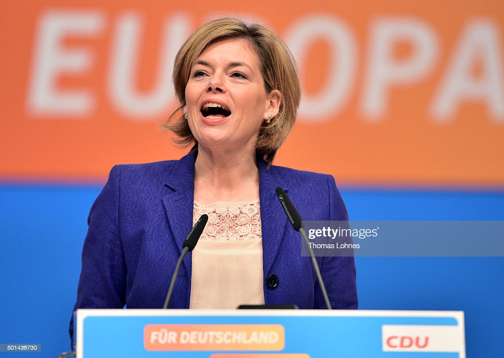 Deputy chairwoman of CDU party <a gi-track='captionPersonalityLinkClicked' href=/galleries/search?phrase=Julia+Kloeckner&family=editorial&specificpeople=6902085 ng-click='$event.stopPropagation()'>Julia Kloeckner</a> speaks at the annual CDU federal congress on December 15, 2015 in Karlsruhe, Germany. The CDU is meeting following a dramatic year in which Germany admitted approximately one million migrants and refugees under an open-door policy spearheaded by Merkel. A growing number of CDU members think Merkel has gone too far and see the influx as a burdensome challenge that should have been capped sooner.